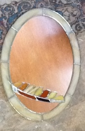 Art Glass Mirror with stained glass feather